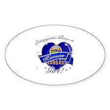 Kansas Girl Sticker (Oval)