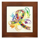 Autism believe Framed Tiles