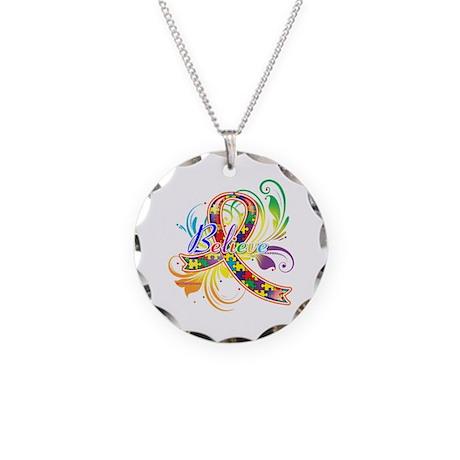 Autism Awareness Believe Necklace Circle Charm