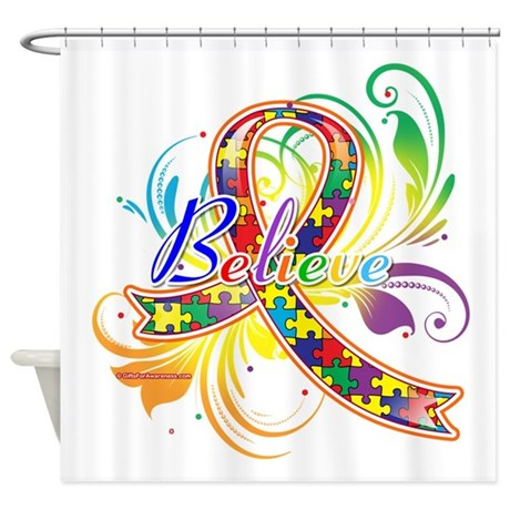 Autism Awareness Believe Shower Curtain