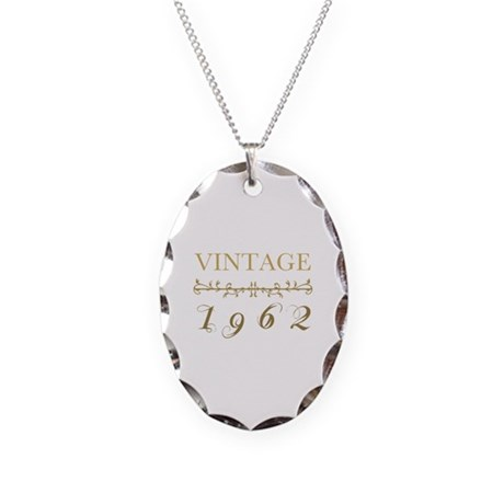 1962 Vintage Gold Necklace Oval Charm