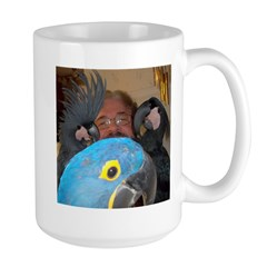 Palm Cockatoos and Hyacinth M Large Mug
