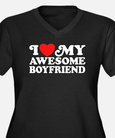 I Love My Awesome Boyfriend Women's Plus Size V-Ne