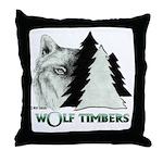 Wolf Timbers Logo Throw Pillow