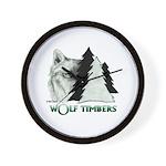 Wolf Timbers Logo Wall Clock