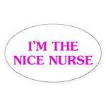 Pink Nice Nurse Sticker (Oval)