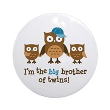 Big Brother of Twins - Mod Owl Ornament (Round)