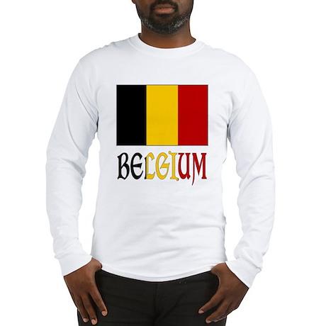 Belgium Flag & Word Long Sleeve T-Shirt