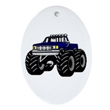 Blue MONSTER Truck Ornament (Oval)