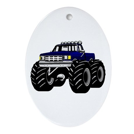 Blue MONSTER Truck Ornament (Oval)