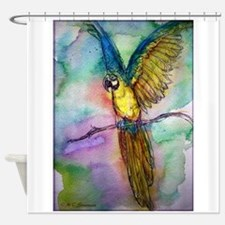 Macaw, blue, gold parrot! Shower Curtain