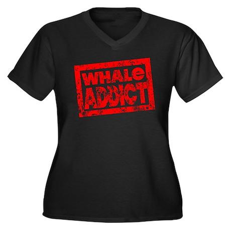 Whale ADDICT Women's Plus Size V-Neck Dark T-Shirt