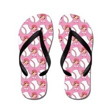 Softball Sports Ball Flip Flops
