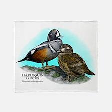 Harlequin Ducks Throw Blanket