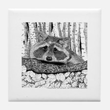 Raccoon Pen & Ink Tile Coaster white