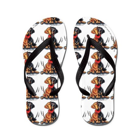 Happy Dachshunds White Flip Flops