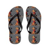 Black and tan hound dog Flip Flops