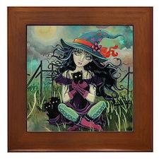 Kitten Witch Halloween Framed Tile