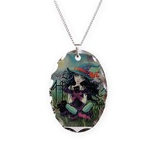 Kitten Witch Halloween Necklace Oval Charm