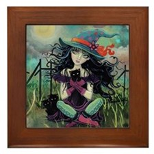 Kitten Witch Halloween Framed Tile
