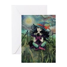 Kitten Witch Halloween Greeting Card