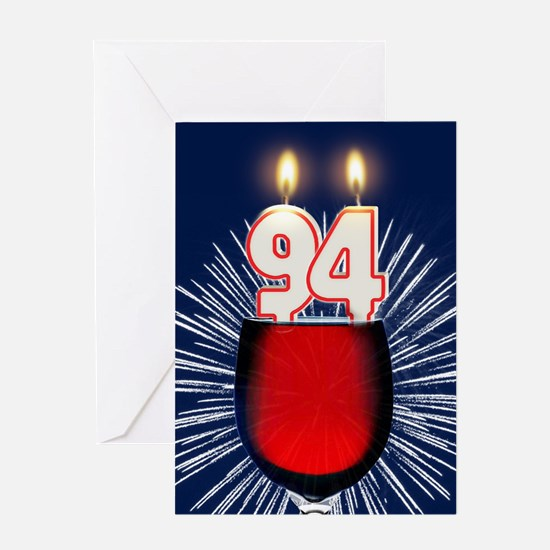 94th birthday wine and birthday candles Greeting C
