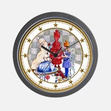 Three Queens in Wonderland Wall Clock