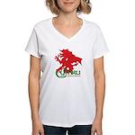 Cymru Draig Women's V-Neck T-Shirt