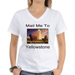 Mail Me To Yellowstone Women's V-Neck T-Shirt