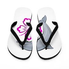 Dolphin Hibiscus Pink Flip Flops