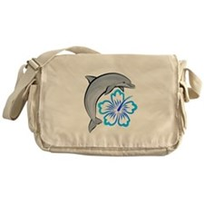 Dolphin Hibiscus Blue Messenger Bag