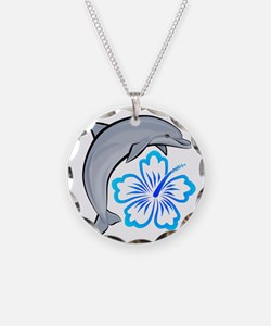 Dolphin Hibiscus Blue Necklace