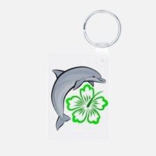 Dolphin Hibiscus Green Keychains