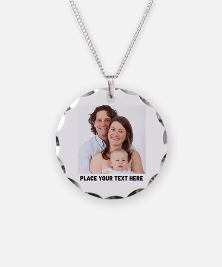 Customize Photo Text Necklace Circle Charm