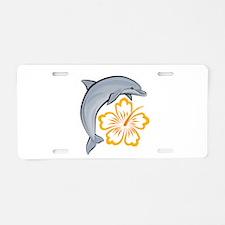 Orange Dolphin Hibiscus Aluminum License Plate