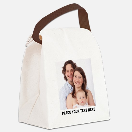 Customize Photo Text Canvas Lunch Bag