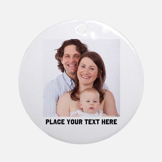 Customize Photo Text Round Ornament