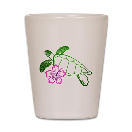 Sea Turtle w/ Hibiscus Shot Glass