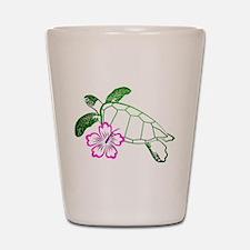 Sea Turtle w/ Hibiscus Shot Glass