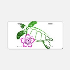 Sea Turtle w/ Hibiscus Aluminum License Plate