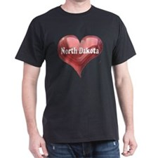 """North Dakota"" Black T-Shirt"