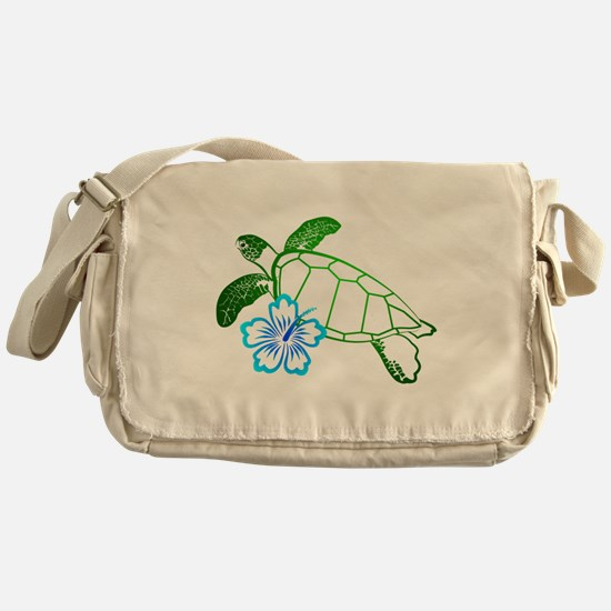 Sea Turtle Hibiscus Blue Messenger Bag