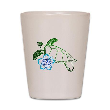 Sea Turtle Hibiscus Blue Shot Glass