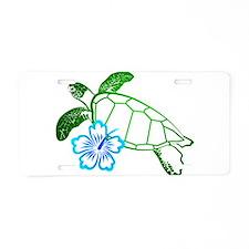 Sea Turtle Hibiscus Blue Aluminum License Plate