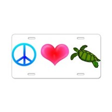 Peace Love Sea Turtles Aluminum License Plate