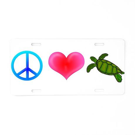 Peace Love Sea Turtles Aluminum License Plate