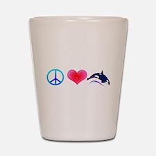 Peace Love Orca Shot Glass