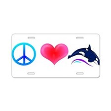 Peace Love Orca Aluminum License Plate
