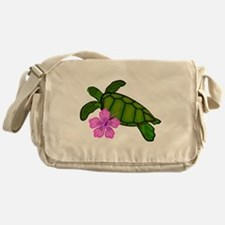 Colored Sea Turtle Hibiscus Messenger Bag