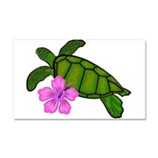 Colored Sea Turtle Hibiscus Car Magnet 20 x 12